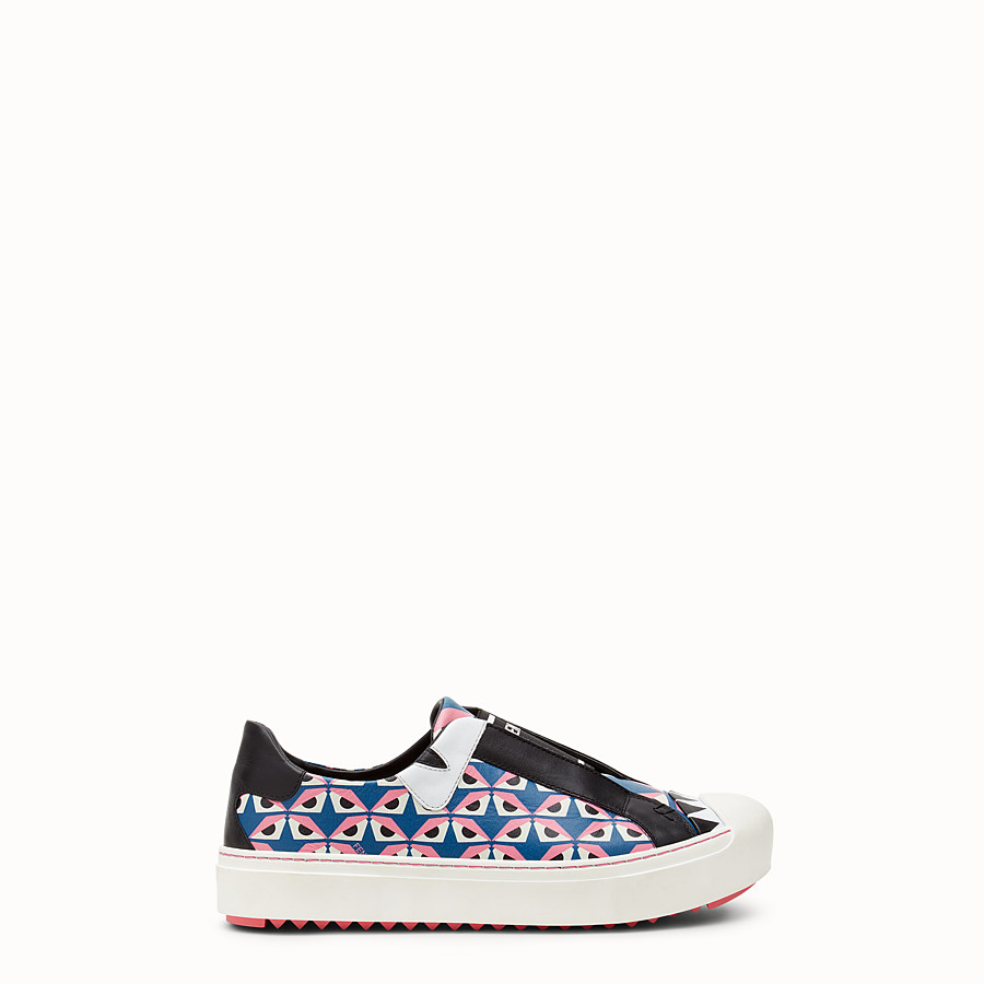 FENDI SNEAKER - in black leather with geometric print - view 1 detail