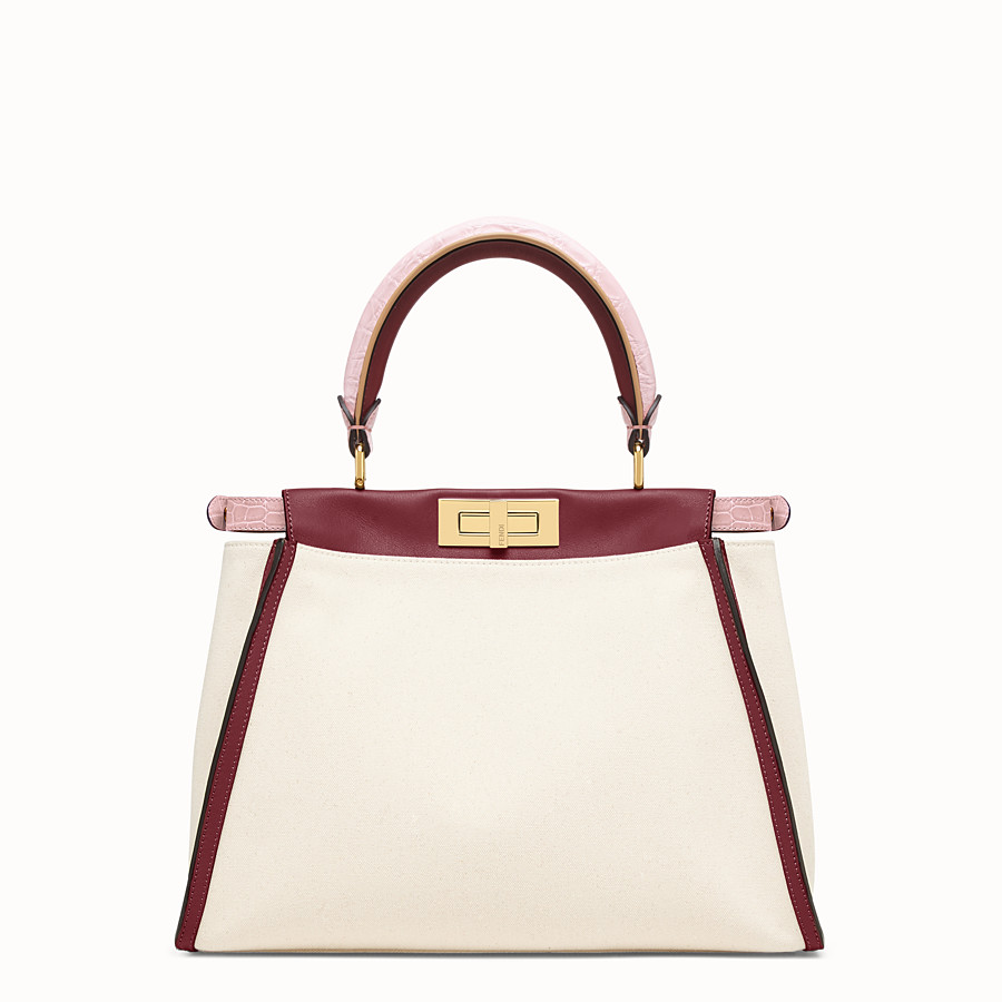 FENDI PEEKABOO ICONIC MEDIUM - White canvas bag with exotic details - view 4 detail