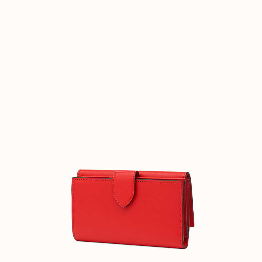 FENDI CONTINENTAL MEDIUM - Slim continental wallet in red leather - view 2 detail