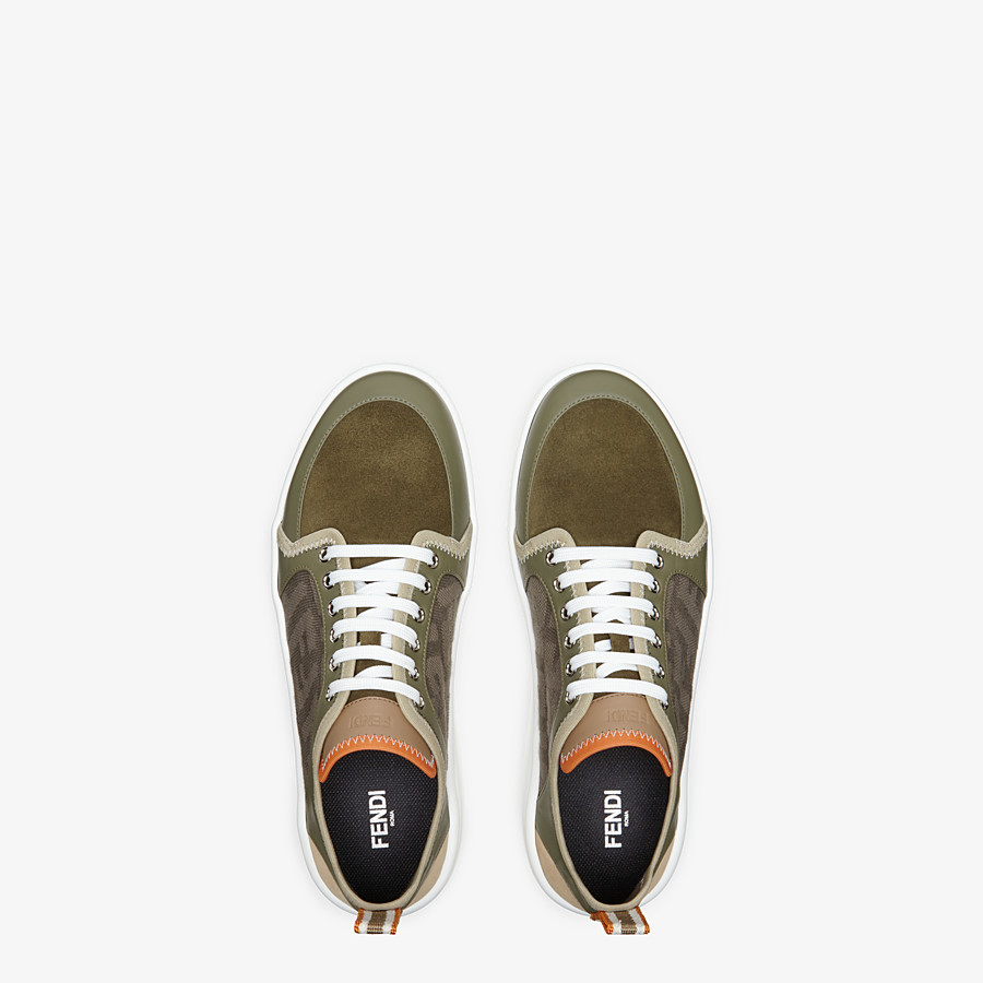 FENDI SNEAKERS - Multicolor leather and suede low-tops - view 4 detail
