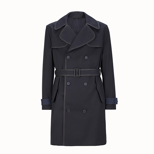 FENDI TRENCH COAT - Blue gabardine trench coat - view 1 small thumbnail