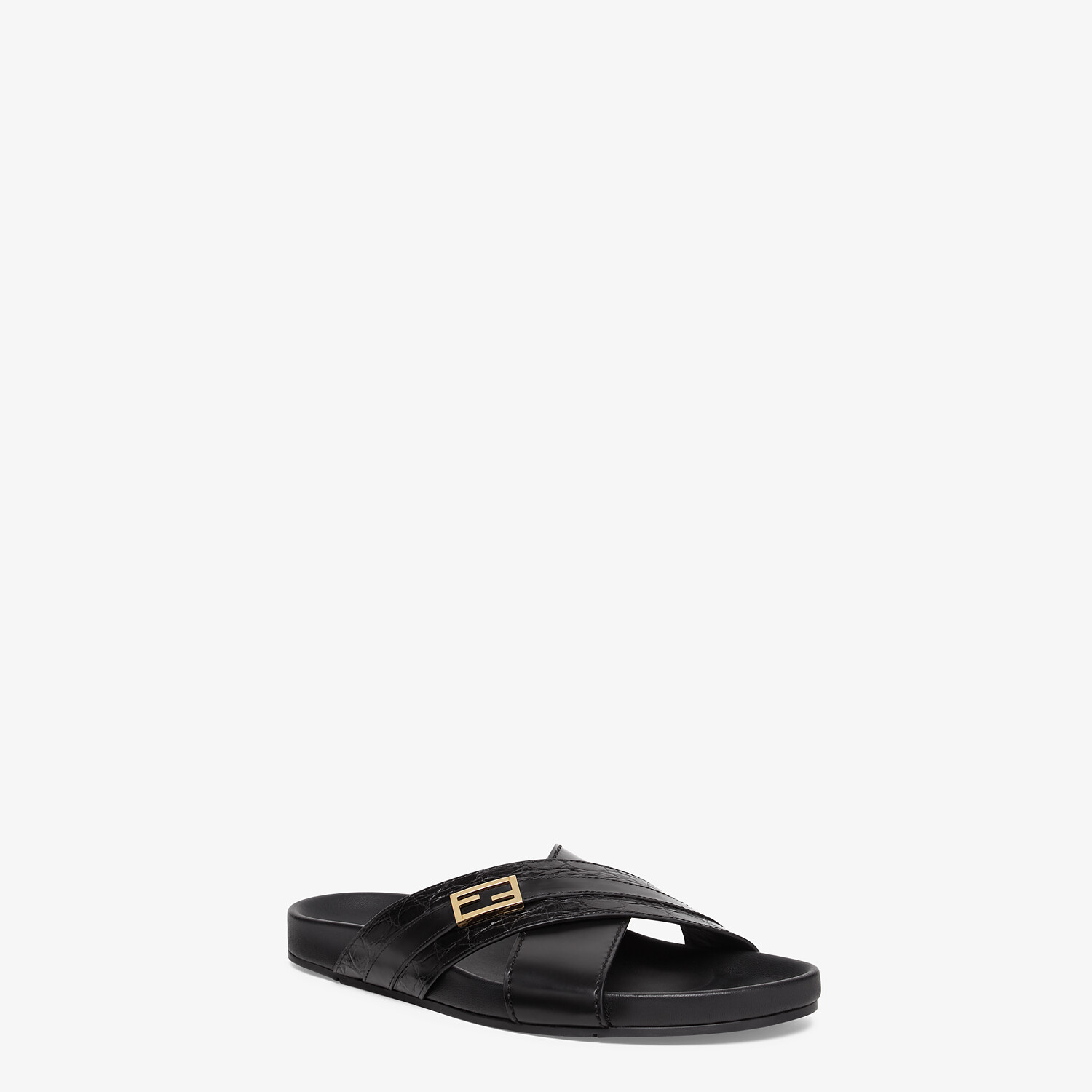 FENDI SANDALS - Black caiman and leather fussbetts - view 2 detail