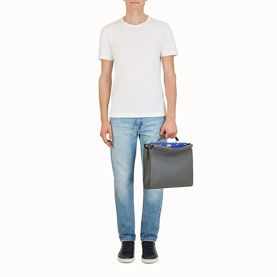 FENDI PEEKABOO ICONIC FIT - Grey leather bag - view 5 detail
