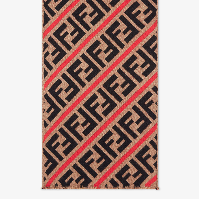 FENDI SCARF - Brown wool and silk scarf - view 1 detail