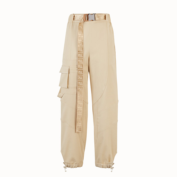 FENDI TROUSERS - Beige cotton trousers - view 1 small thumbnail