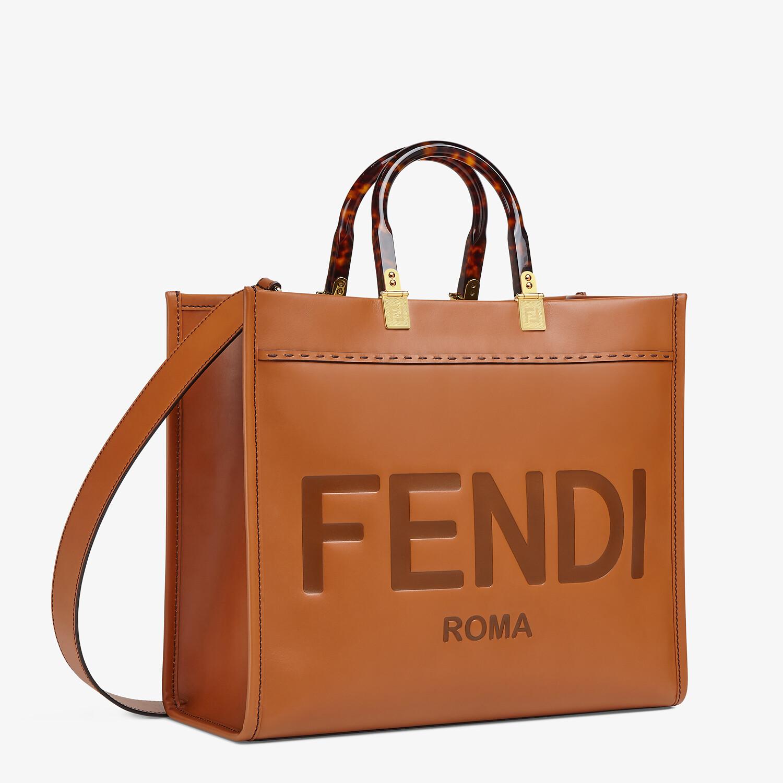 FENDI FENDI SUNSHINE MEDIUM - Brown leather shopper - view 3 detail