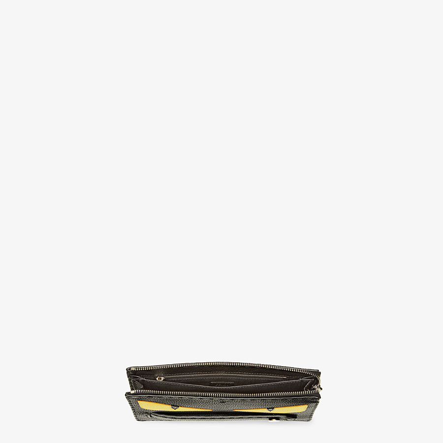 FENDI CLUTCH - in black Roman leather with inlay - view 4 detail