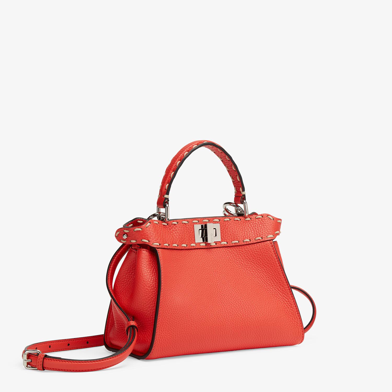 FENDI PEEKABOO ICONIC MINI - Red full grain leather bag - view 2 detail