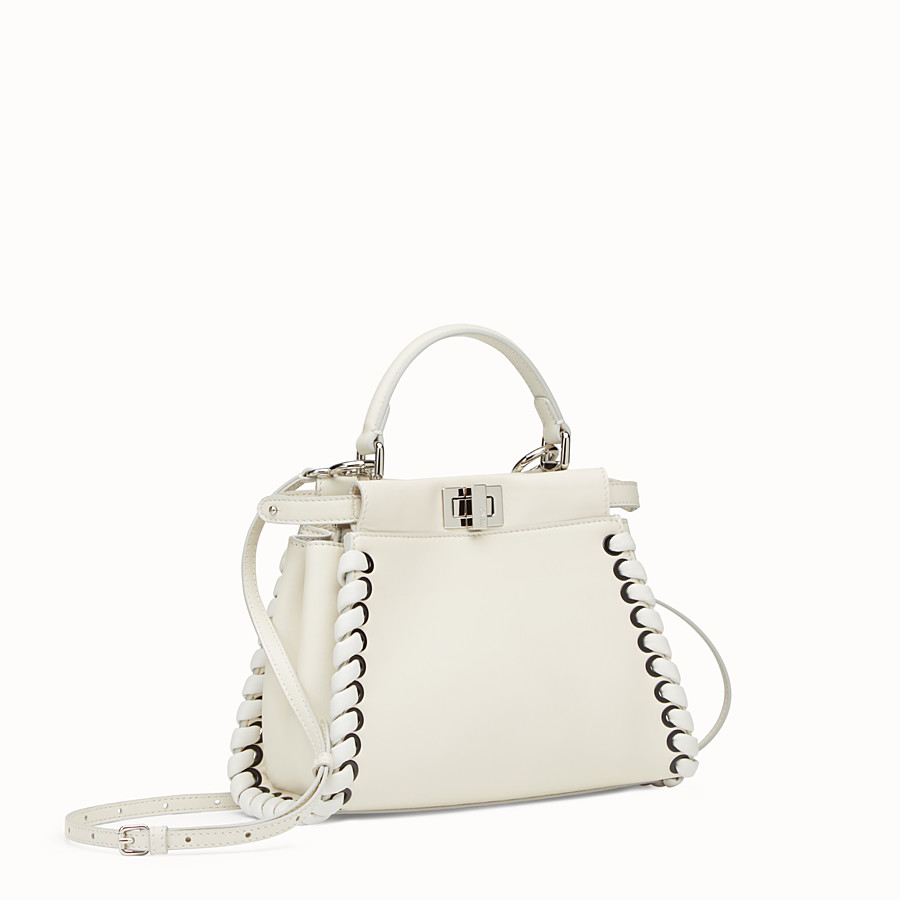 FENDI PEEKABOO MINI - White nappa handbag with weaving - view 2 detail