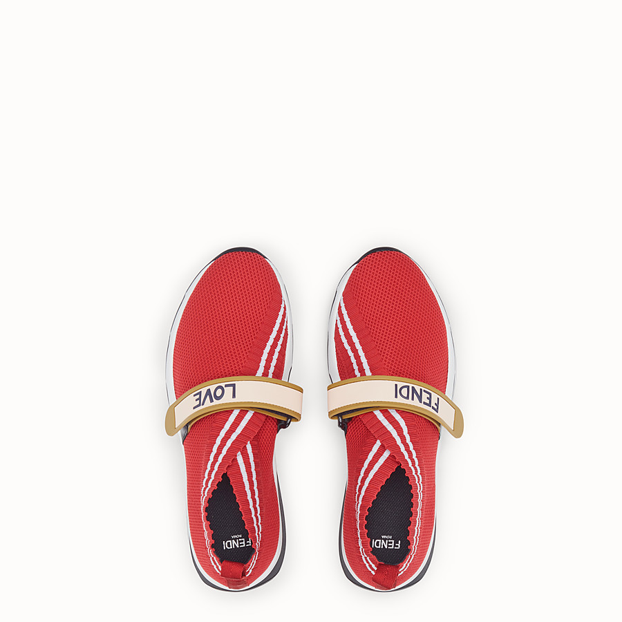 FENDI SNEAKERS - Red fabric sneakers - view 4 detail