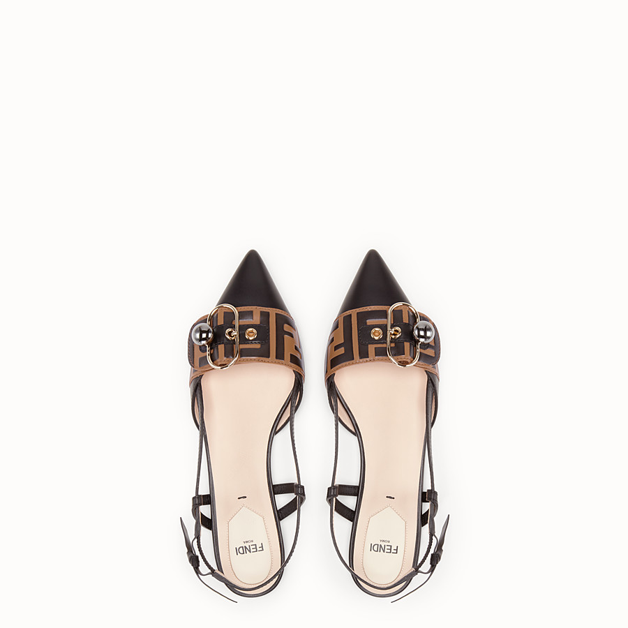 FENDI SLINGBACK - Black leather slingbacks - view 4 detail