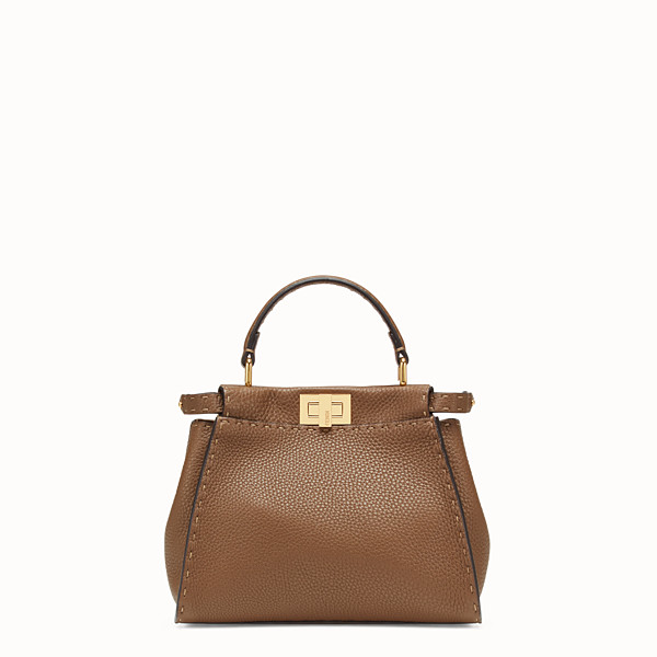 FENDI PEEKABOO ICONIC MINI - Brown leather bag - view 1 small thumbnail