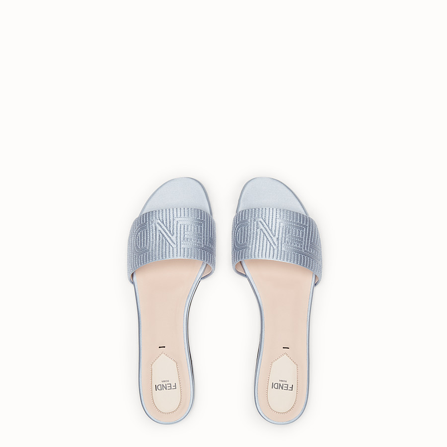FENDI SABOTS - Grey satin slides - view 4 detail