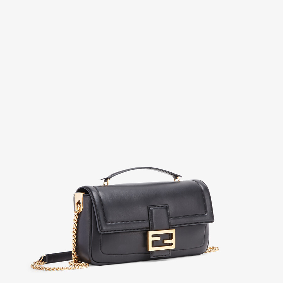 FENDI BAGUETTE CHAIN - Black nappa leather bag - view 3 detail
