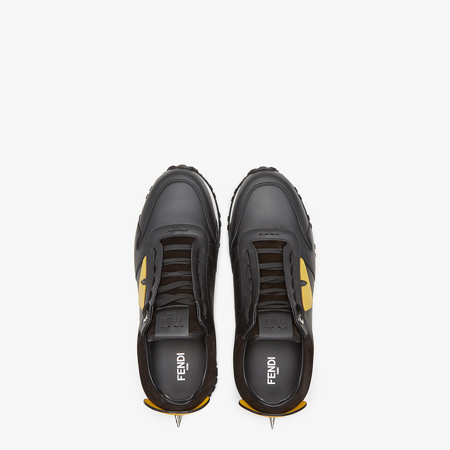 FENDI BAG BUGS SNEAKERS - Black and yellow leather lace-up - view 4 detail