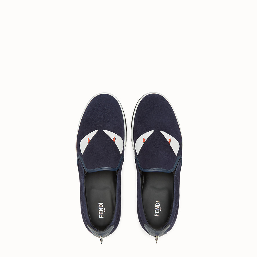 FENDI SNEAKER - cosmos blue leather slip-on - view 4 detail