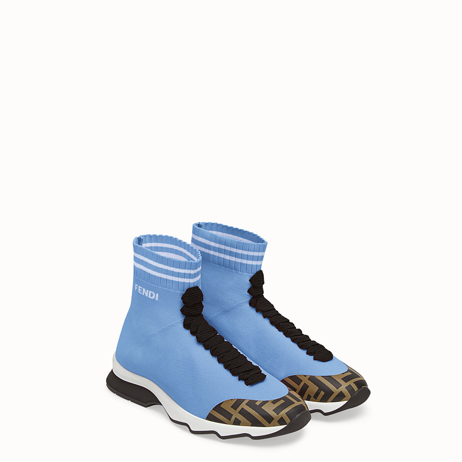 FENDI SNEAKERS - Pale blue fabric sneaker boots - view 4 detail