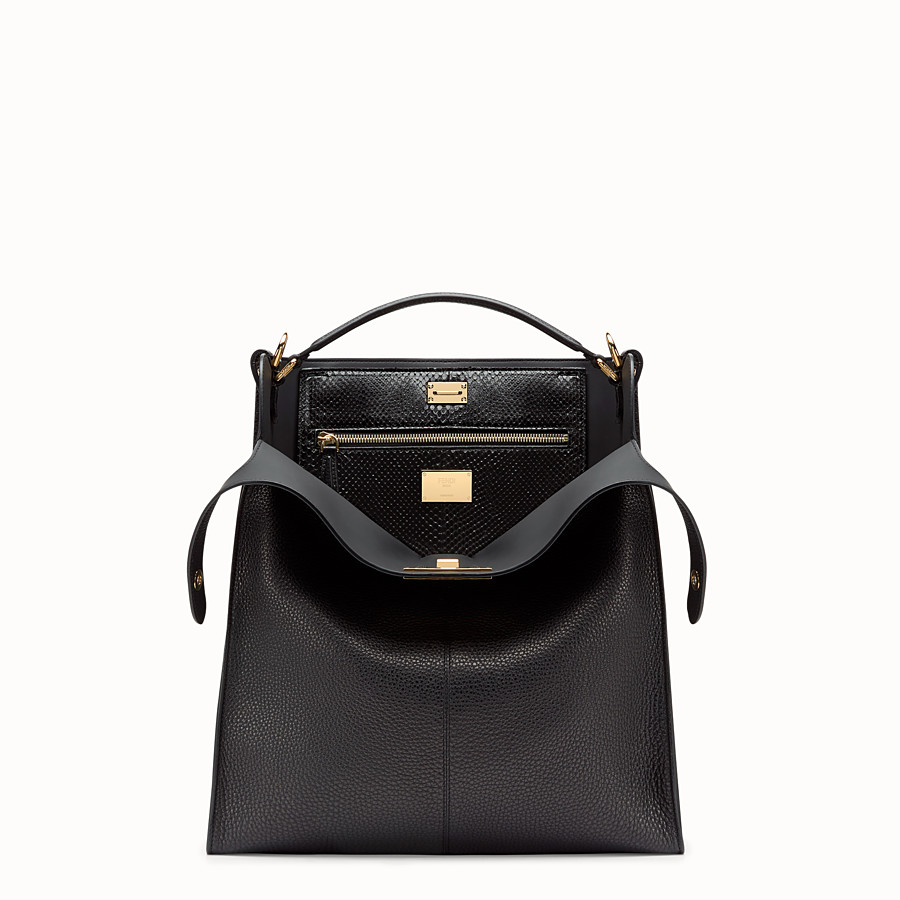 FENDI PEEKABOO X-LITE FIT - Sac en cuir romain noir - view 1 detail