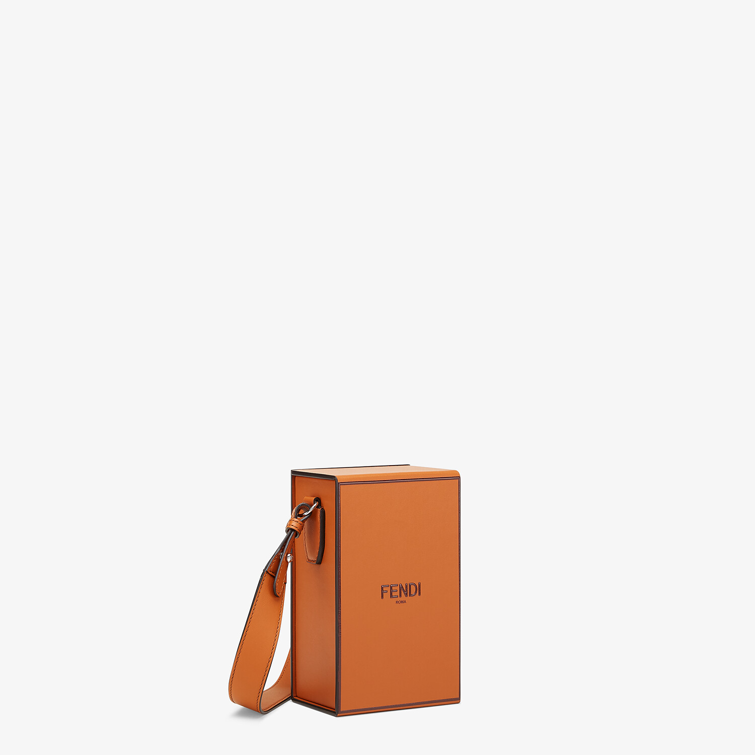 FENDI VERTICAL BOX - Brown leather bag - view 2 detail