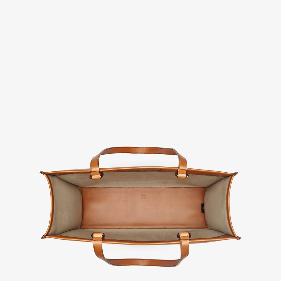 FENDI SHOPPING BAG - Brown leather shopper - view 5 detail