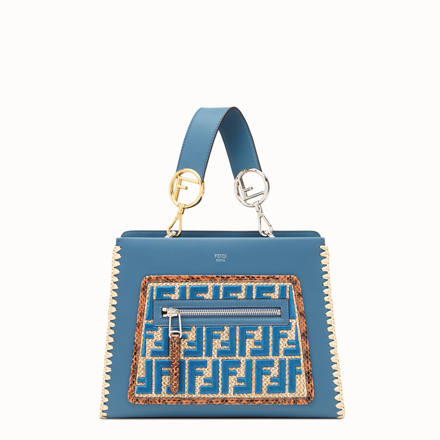 FENDI RUNAWAY SMALL - Blue leather bag with exotic details - view 1 detail