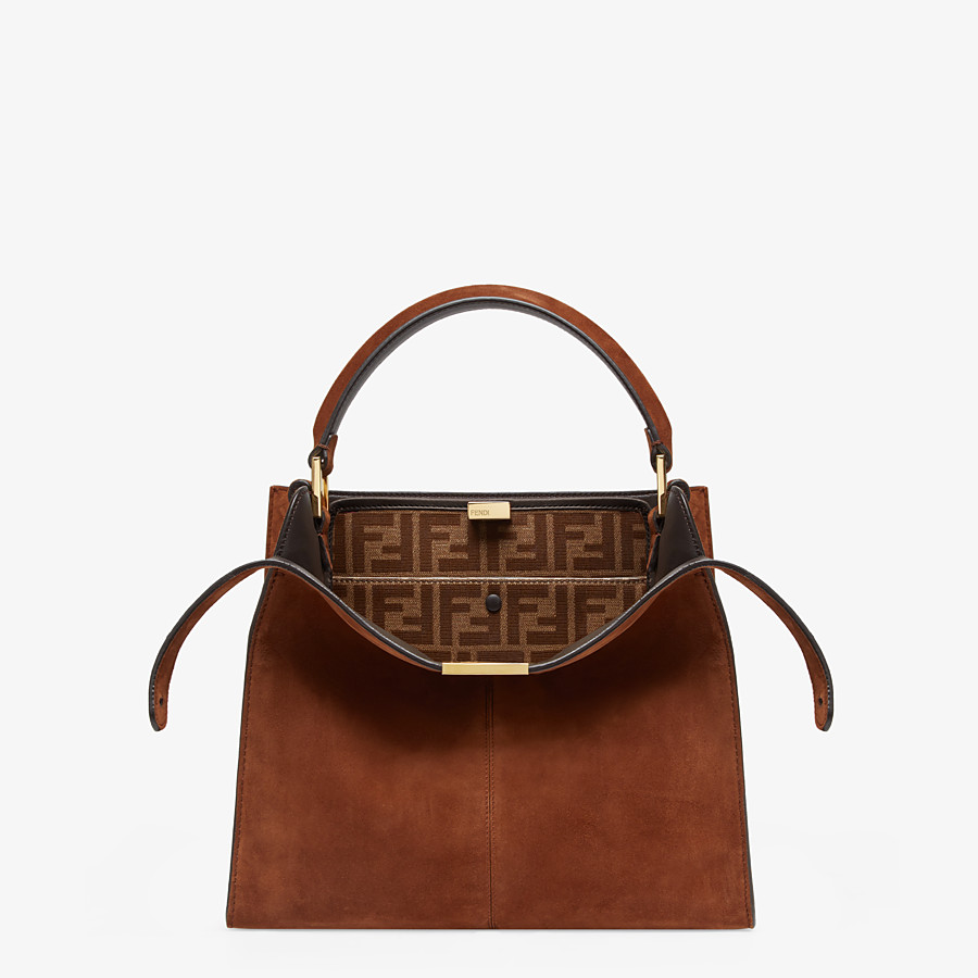 FENDI PEEKABOO X-LITE MEDIUM - Borsa in suede marrone - vista 1 dettaglio