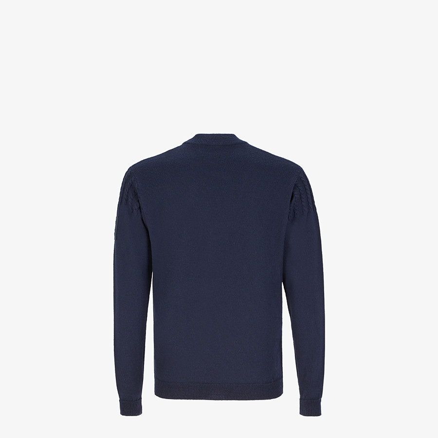 FENDI PULLOVER - Blue wool sweater - view 2 detail