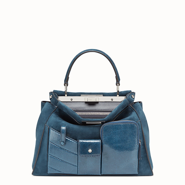 FENDI PEEKABOO ICONIC MEDIUM - blue suede bag with exotic details - view 1 small thumbnail