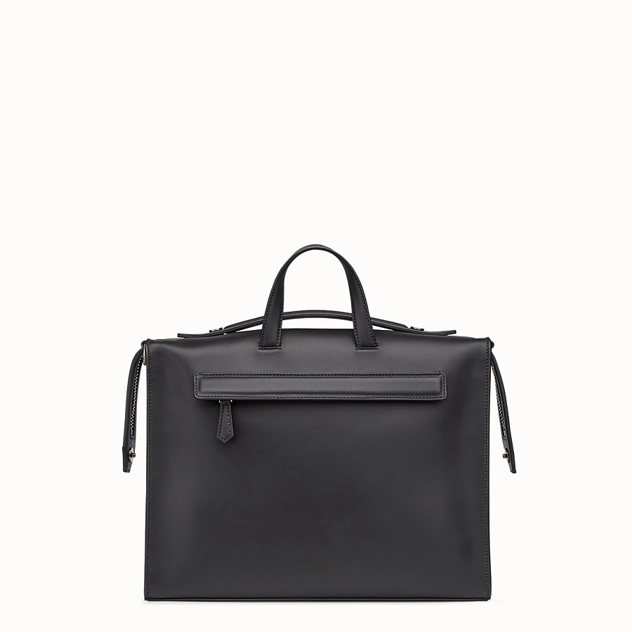FENDI MESSENGER - Smooth black-leather bag - view 3 detail
