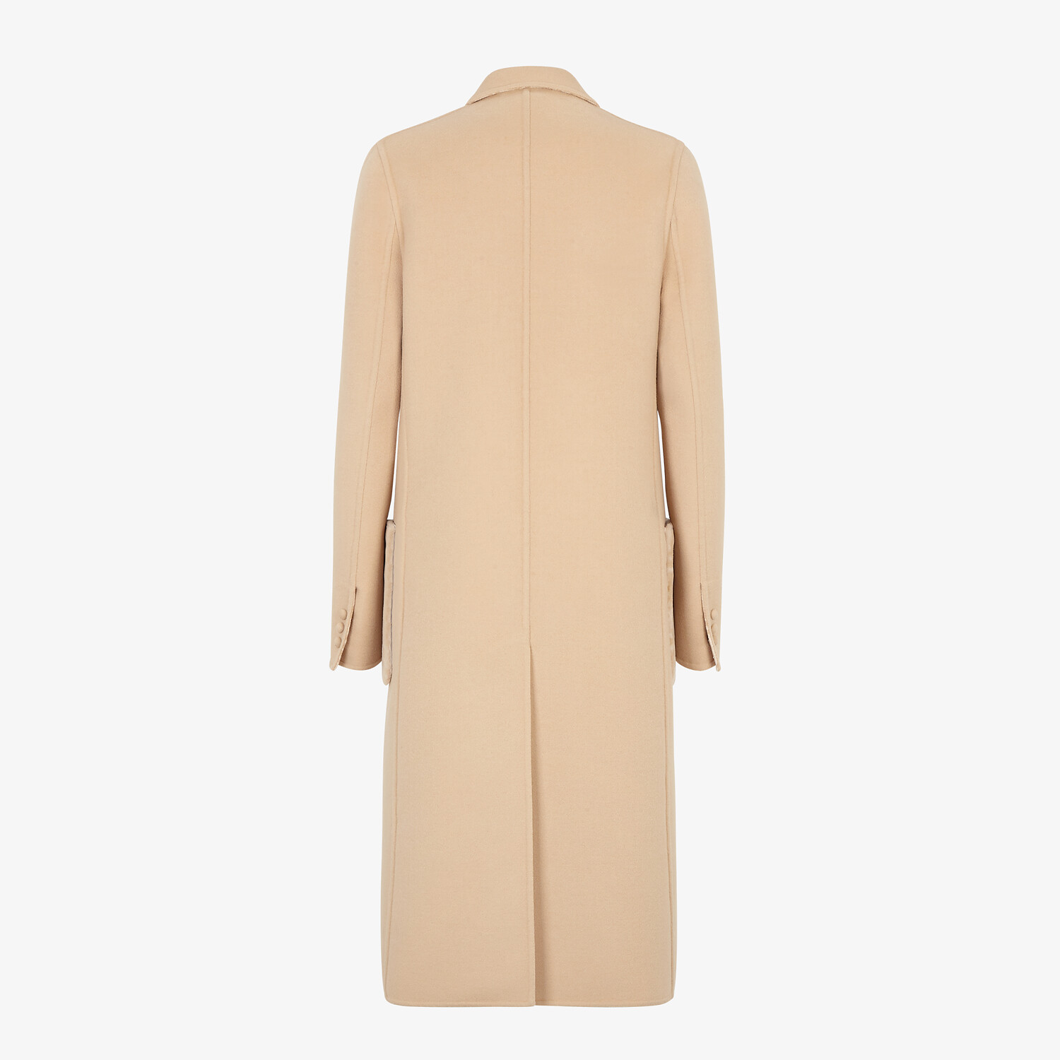 FENDI COAT - Beige double-sided wool coat - view 2 detail