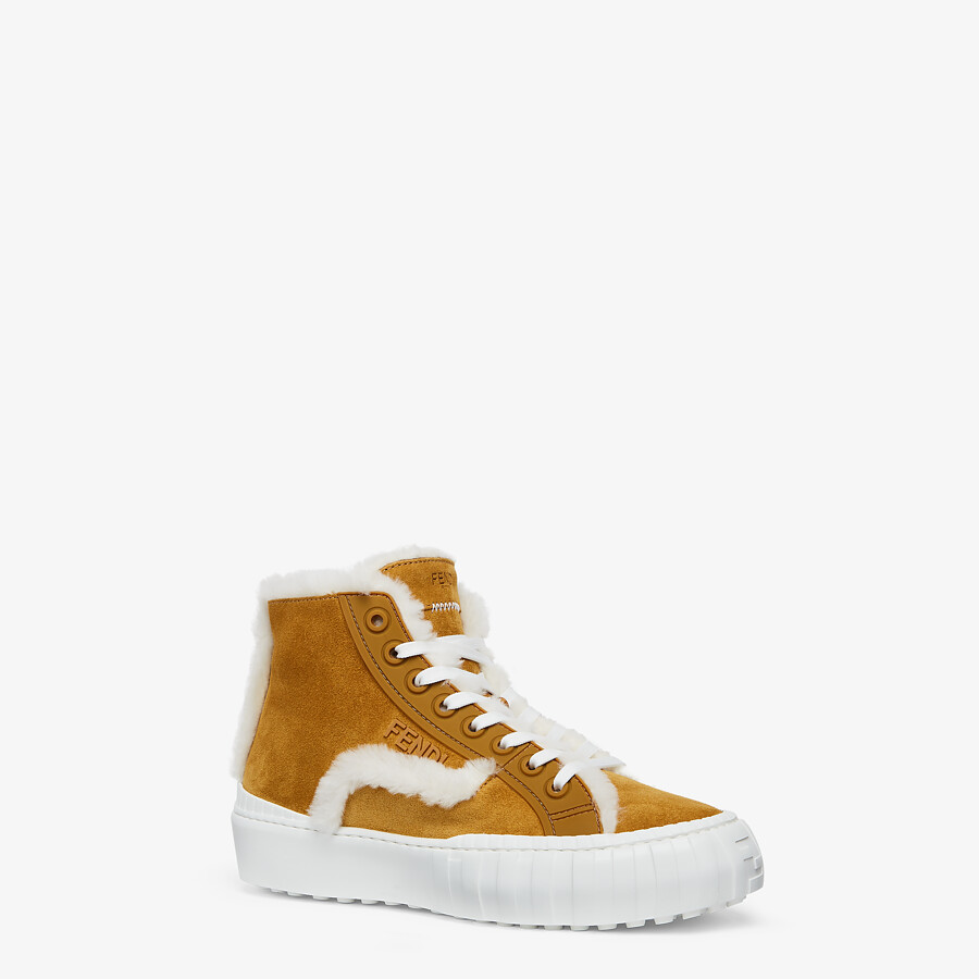 FENDI FENDI FORCE - Yellow suede high-tops - view 2 detail