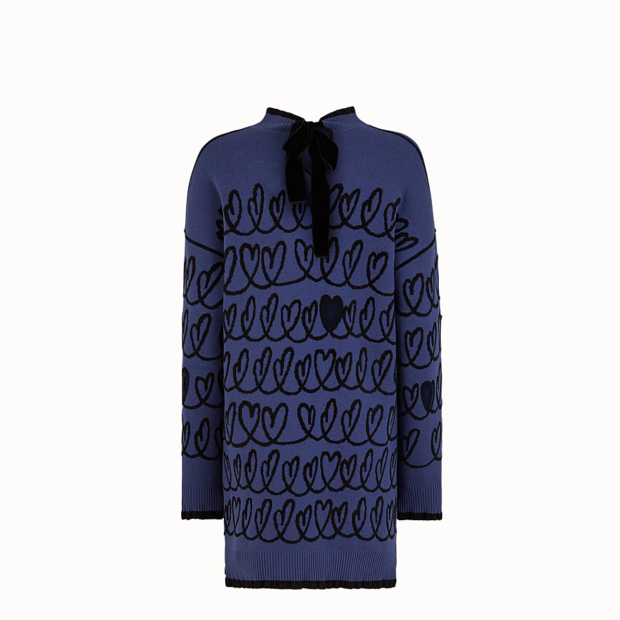 FENDI DRESS - Blue wool maxi pullover - view 2 detail