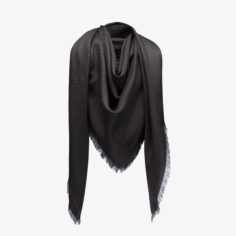 FENDI FF SHAWL - Black silk and jacquard wool shawl - view 2 detail