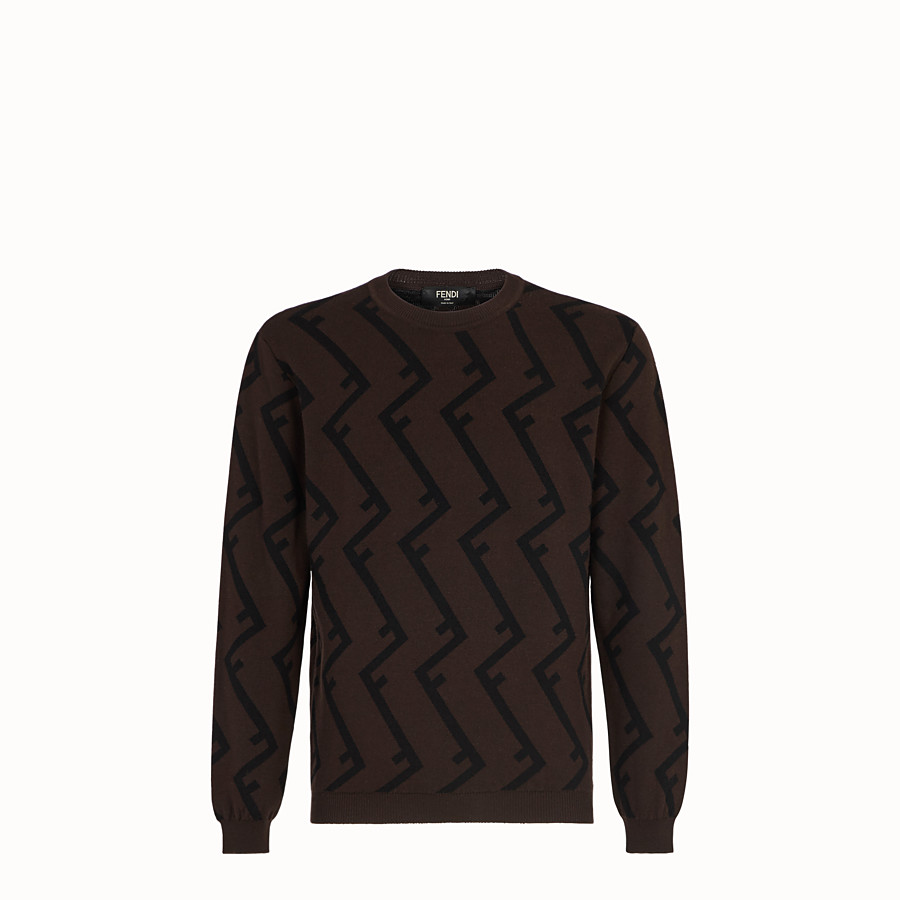 FENDI PULLOVER - Brown wool jumper - view 1 detail