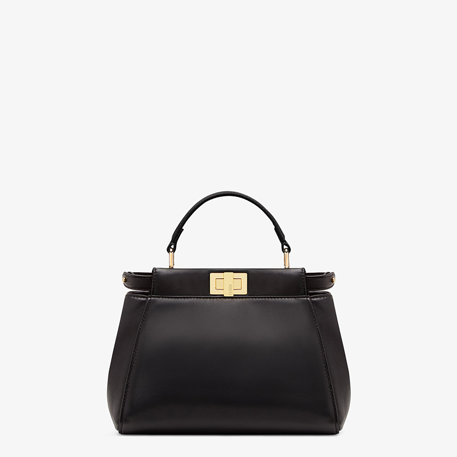FENDI PEEKABOO ICONIC MINI - Black nappa leather bag - view 1 detail