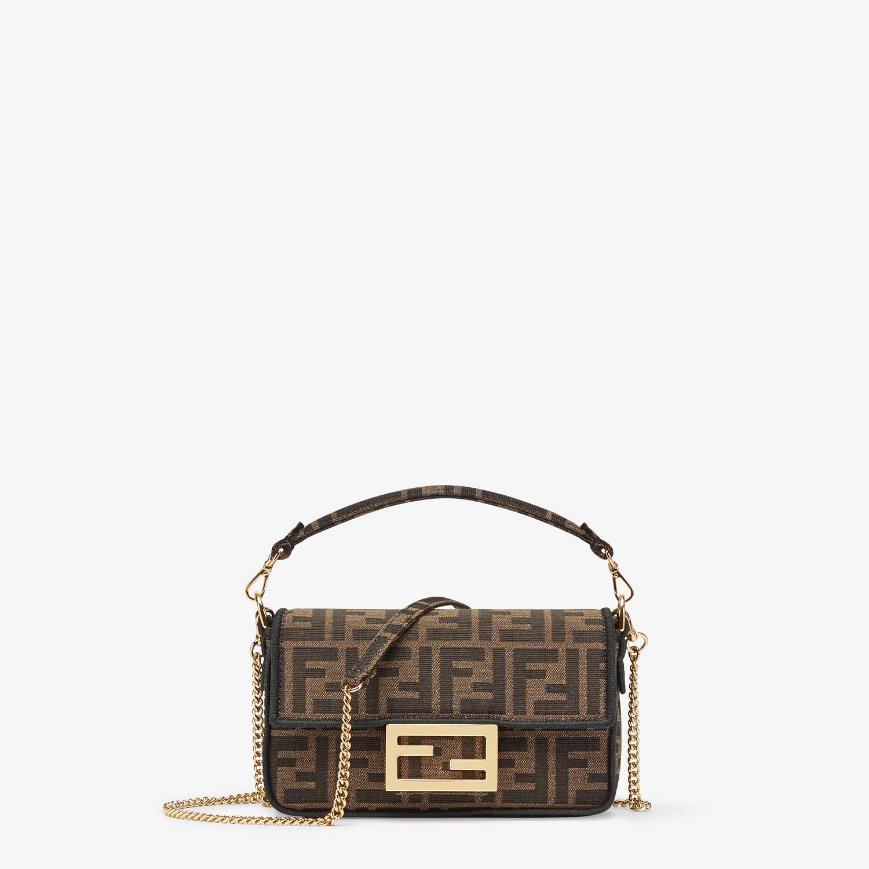 FENDI MINI BAGUETTE - Brown fabric bag - view 1 detail