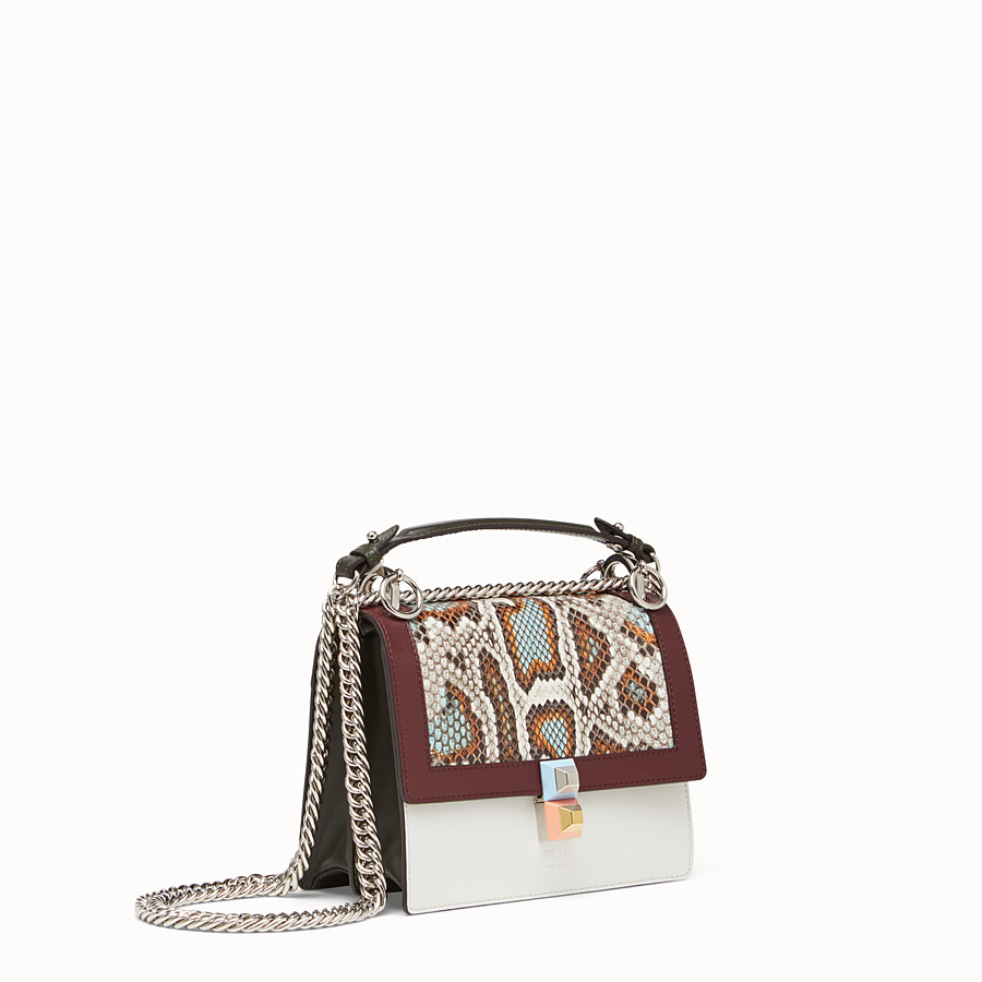 FENDI KAN I SMALL - Python and white leather mini bag - view 2 detail