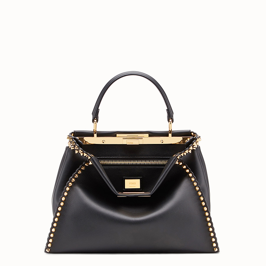 FENDI PEEKABOO REGULAR - Sac en cuir noir - view 1 detail