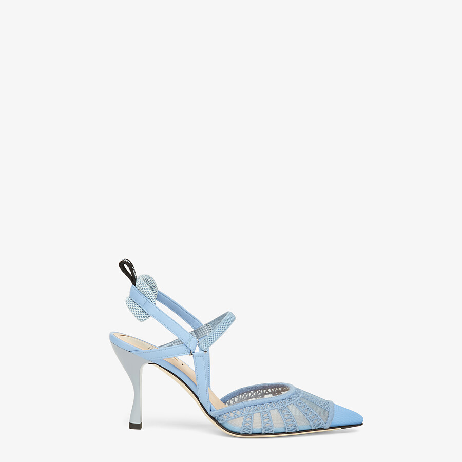FENDI COLIBRI LITE SLINGBACKS - Light blue micro-mesh slingbacks - view 1 detail