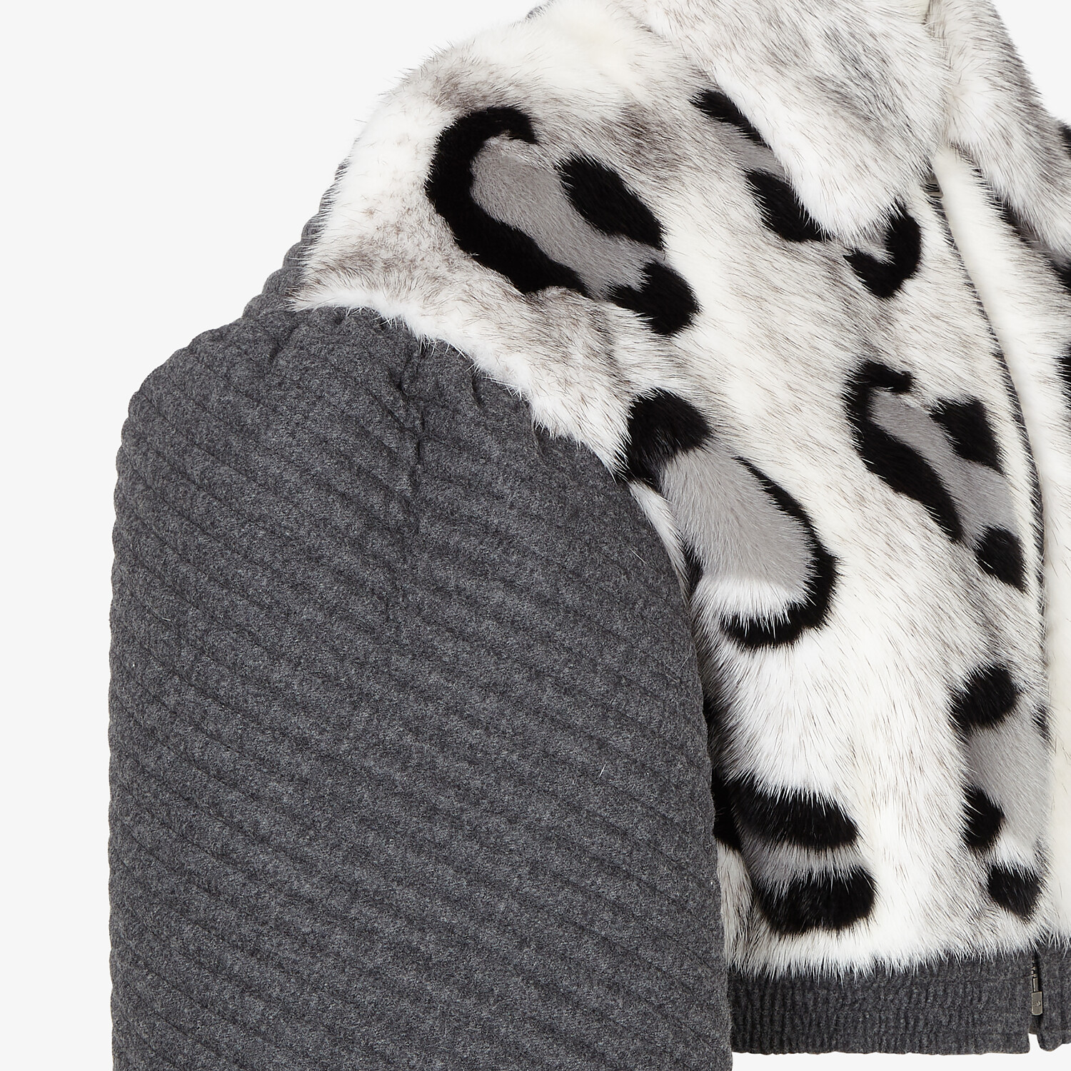 FENDI JACKET - Grey mink and cashmere jacket - view 3 detail