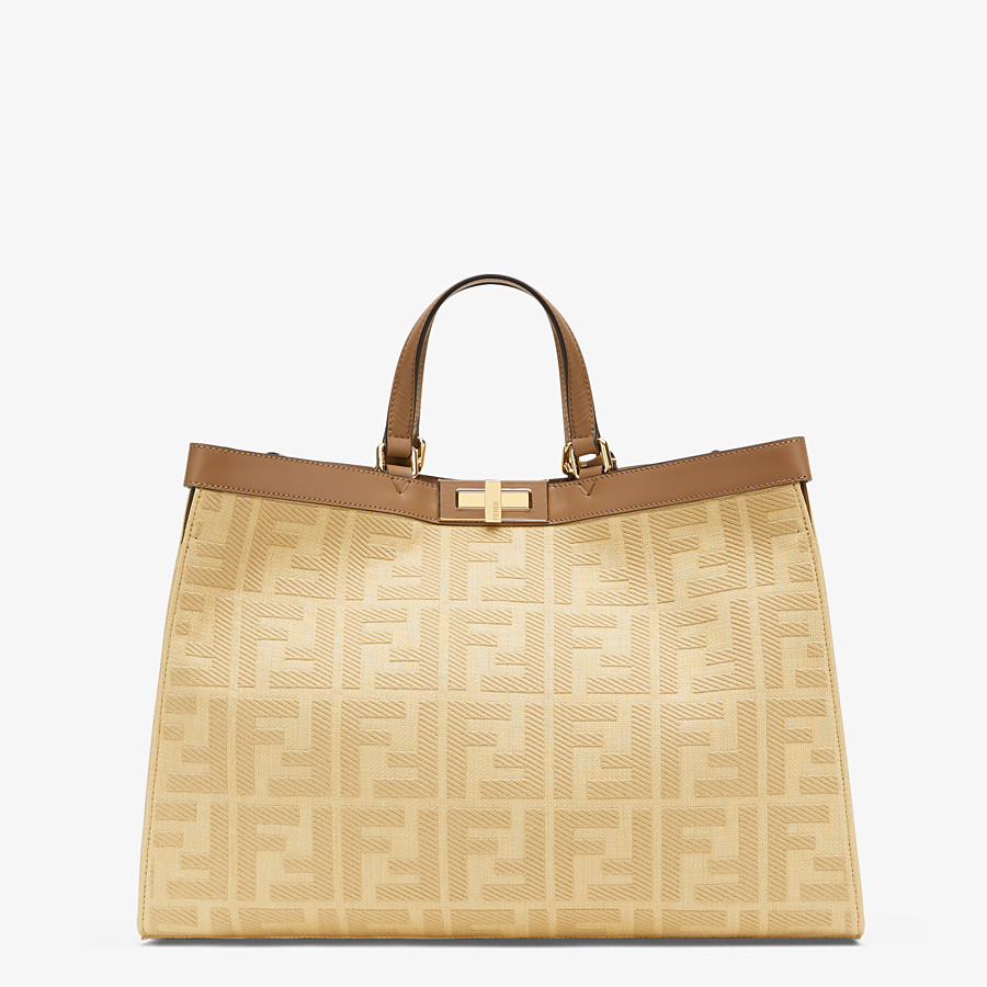 FENDI PEEKABOO X-TOTE - Beige canvas bag - view 1 detail