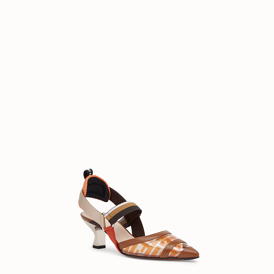 FENDI COURT SHOES - Orange leather and PU Colibrì - view 2 detail