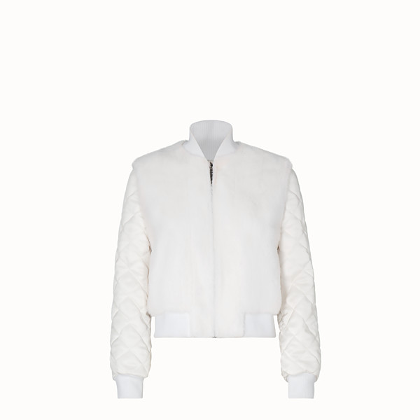 FENDI BOMBER - White fabric and fur bomber jacket - view 1 small thumbnail