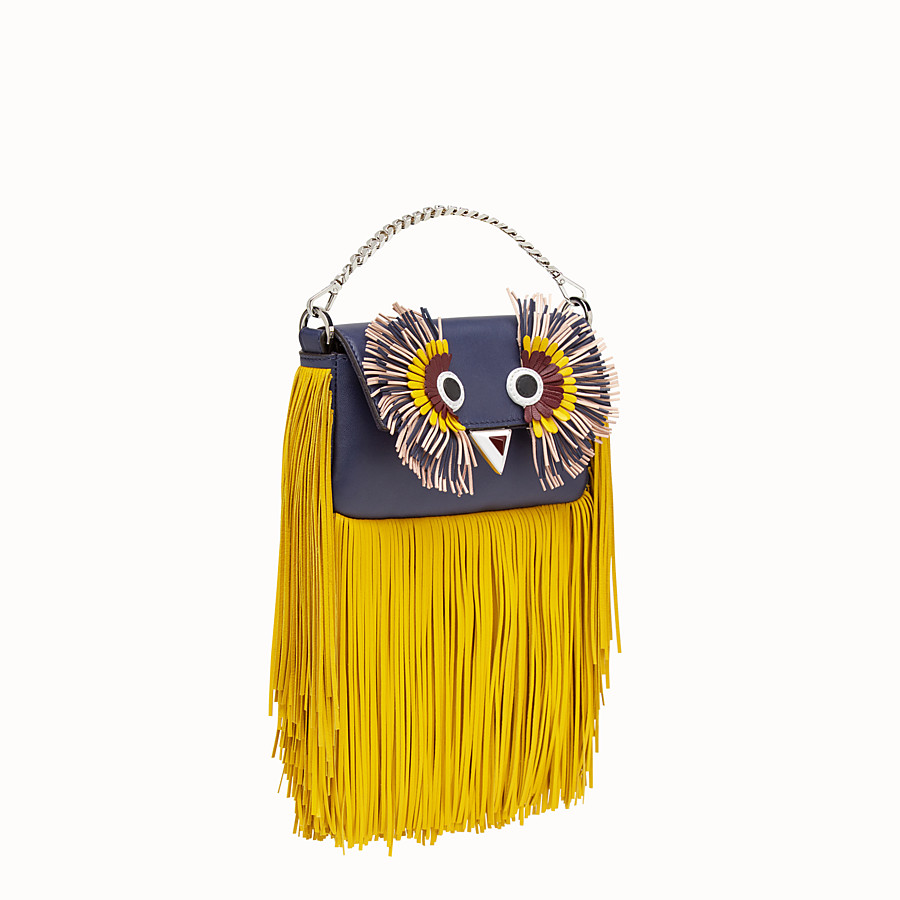 FENDI MICRO BAGUETTE - Blue leather micro-bag with fringe - view 2 detail