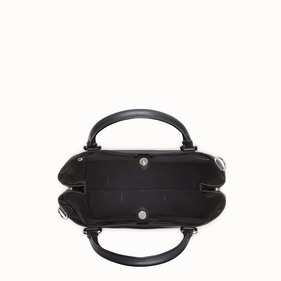 FENDI TOTE BAG - Shopper in nylon and black leather - view 4 detail