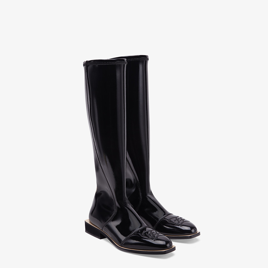 FENDI BOOTS - Glossy black neoprene boots - view 4 detail