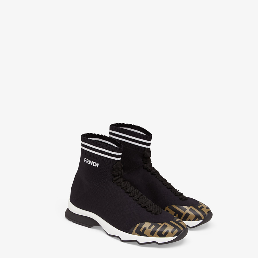 FENDI SNEAKERS - Black fabric sneakers - view 4 detail