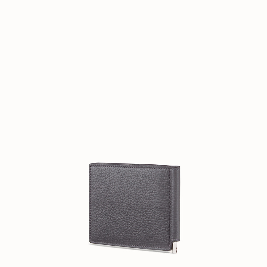 FENDI CARD HOLDER - Grey, calf leather money clip - view 2 detail