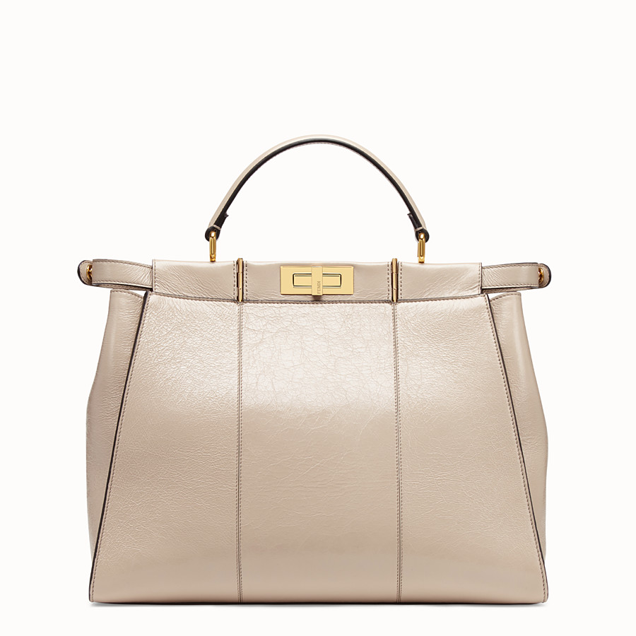 FENDI PEEKABOO ICONIC LARGE - Beige leather bag - view 5 detail