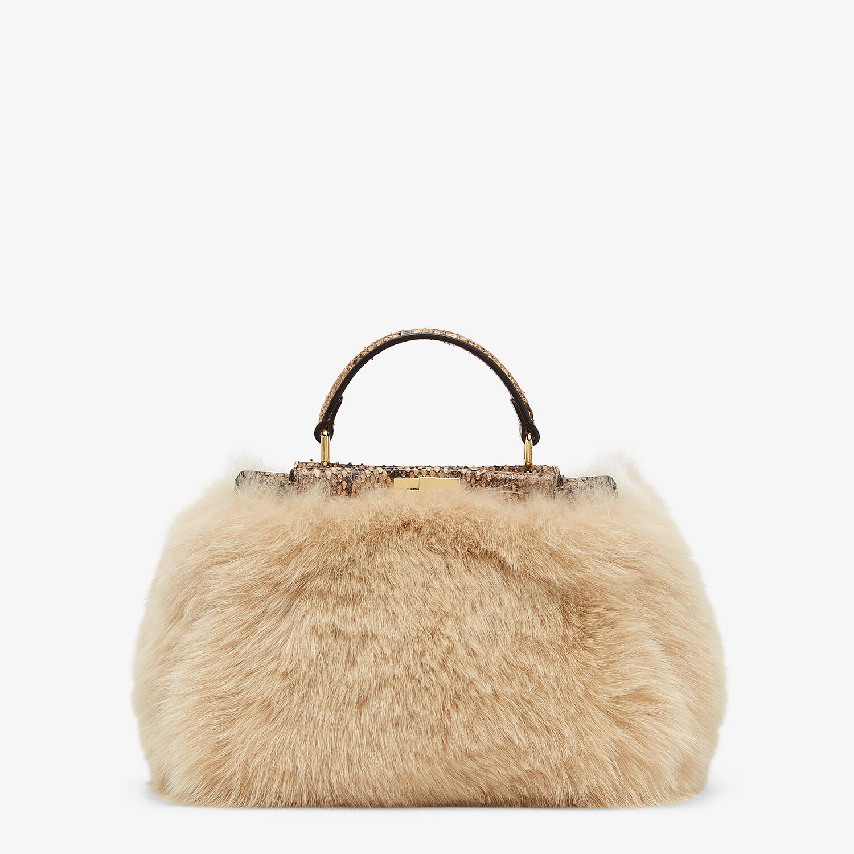 FENDI PEEKABOO ICONIC MINI - Beige fox fur and python bag - view 4 detail